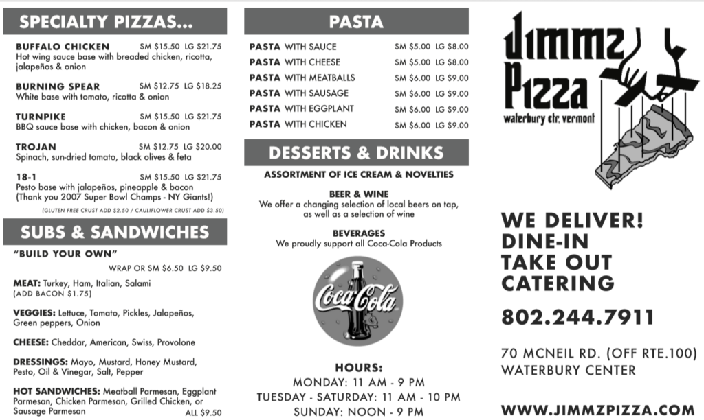 online menu for jimmz pizza version 1.