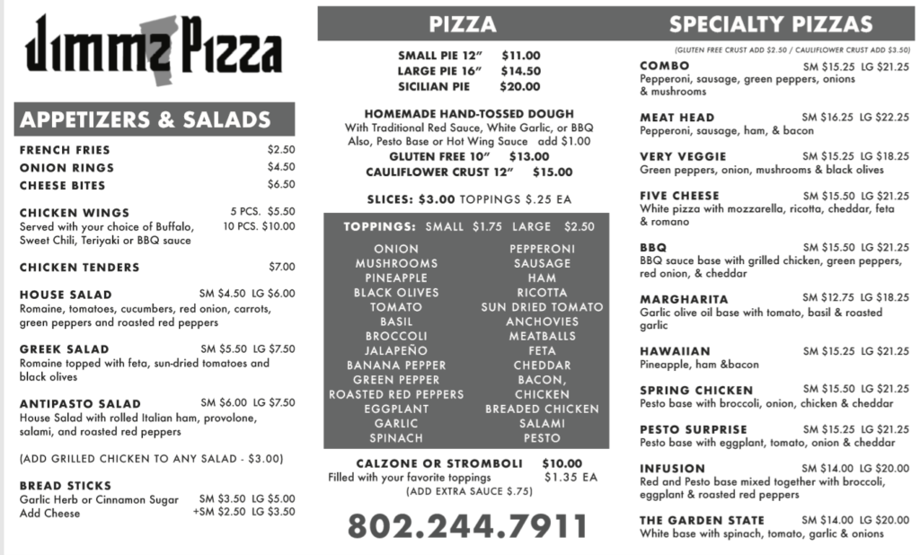 menu for JimmzPizza.com.